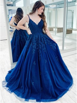 Blue Appliques Long Prom Dress