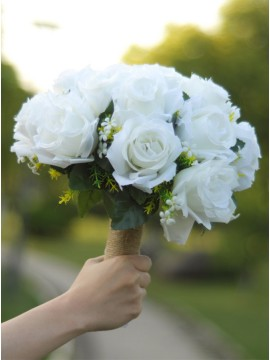 Bridal Bouquets White Rose with Peals Bridesmaid Bouquets