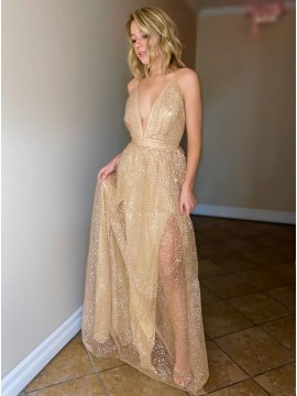 Long Prom Dress Champagne Evening Dress