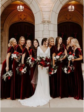 Burgundy A-Line Short Sleeves Long Bridesmaid Dress
