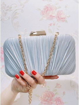 Elegant Polyester Blue Chain Clutch Bag