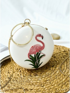 White Chain Clutch Bag with Embroidery