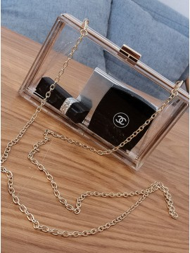 PVC Transparent Chain Clutch Bag