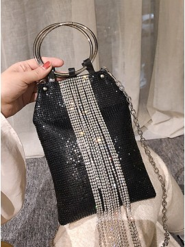 Black Sequin Tote Bag