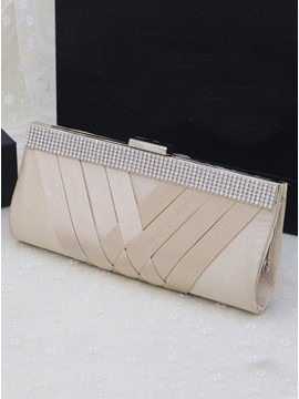 Champagne Satin Closure Clutch Purse