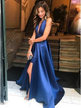 A-line Deep V-Neck Royal Blue Prom Dress with Split Backless Party Dress