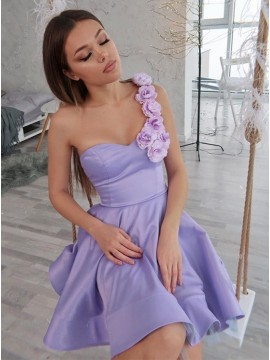 A-Line One Shoulder Short Lilac Homecoming Dress with Flowers