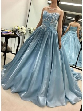 A-Line Sweetheart Sweep Train Blue Satin Prom Dress with Appliques
