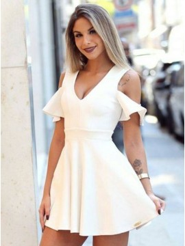 A-Line V-Neck White Homecoming Dress with Short Sleeves