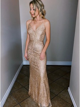 Stunning Champagne Evening Dress Long Formal Dress