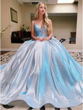 Modest Long Light Blue Glitter Prom Dress