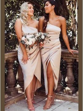 Champagne Sheath One Shoulder Sleeveless Asymmetrical Bridesmaid Dress