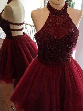 A-Line Halter Backless Burgundy Short Homecoming Dress with Beading