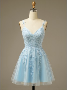 V-neck Short Homecoming Dress Light Blue Graduation Dresses