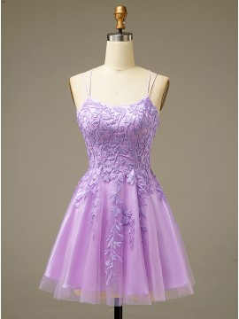 Lace-up Lilac Short Homecoming Party Dresses