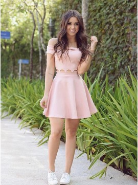 A-Line Off-the-Shoulder Pink Homecoming Dress with Short Sleeves
