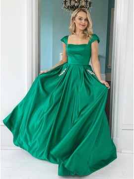 Square Neck Green Prom Dress with Cap Sleeves
