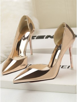 Gold Pointed Stiletto Hollow Metal Surface Shallow Heels