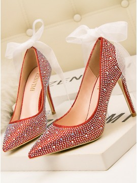 Red Women's Shoes Stiletto Rhinestone Diamond High Heels