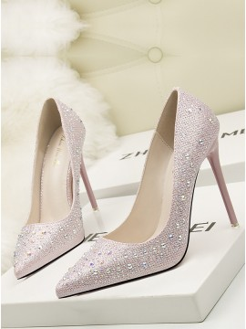 Pink Sweet Stiletto High Heels Rhinestone Shoes