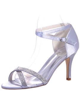 Lavender Satin Cross with Peep Toe High Heels Sandals