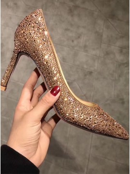 Gold Pearl Pointed High Heels with Rhinestones
