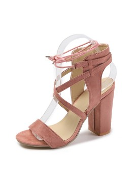 Peep Toe Chunky Heel Sandals Prom Shoes