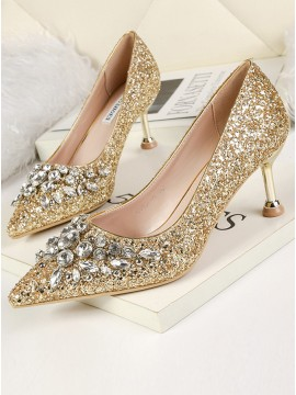 Rhinestone Stiletto Gold Heels Sequins Prom Shoes