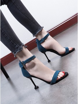 Women's Blue Hight Heels Peep Toe Sandals