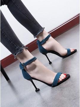 Women's Blue Hight Heels Peep Toe Sandals