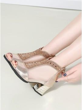 Fashion Champagne Mesh Chunky Heels