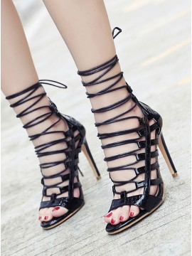 Black Lace-Up High Heel Prom Shoes