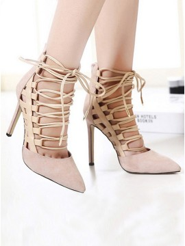 Apricot Velvet Closed Toe Stiletto Heels
