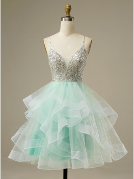 Beaded Lace-up Short Homecoming Dress