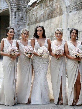 Sheath Slit Leg V-Neck Sleeveless Ivory Long Bridesmaid Dress