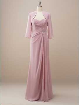 Dusty Rose Wedding Party Dress with Sleeves