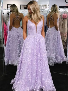 A-Line V-Neck Lilac Long Prom Dress with Appliques