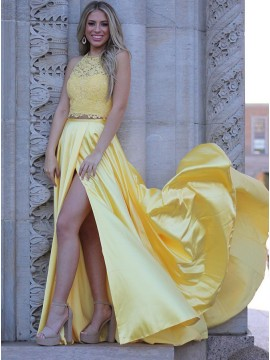 Two Piece Daffodil Long Prom Dress with Lace Split