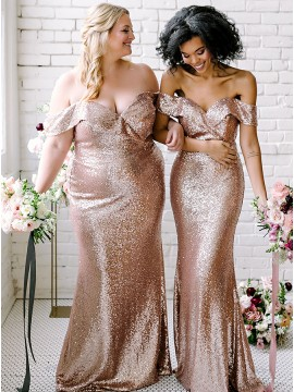Mermaid Off-the-Shoulder Sleeveless Long Bridesmaid Dress With Sequins