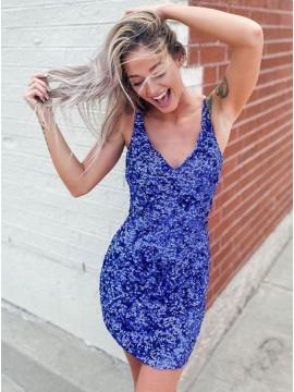 Sequin V-neck Royal Blue Homecoming Dress