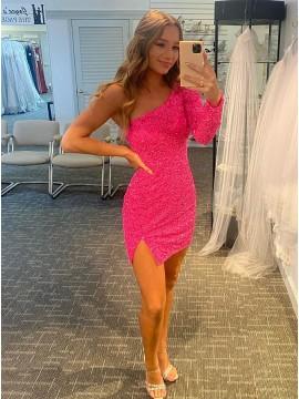 Sequin One Shoulder Pink Homecoming Dress