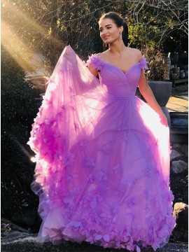 Off the Shoulder Purple Prom Dress