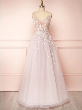 Long Pearl Pink Lace-up Prom Dress
