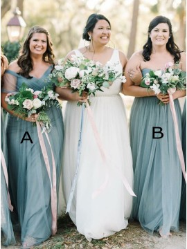 A-Line Sweetheart Floor-Length Dark Blue Bridesmaid Dress