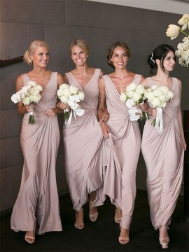 Sheath V-Neck Floor-Length Blush Bridesmaid Dress with Ruched