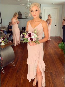 Asymmetrical Dusty Rose Bridesmaid Dress with Ruffles Split