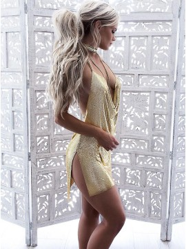 Sheath Halter Backless Short Gold Sequined Cocktail Dress