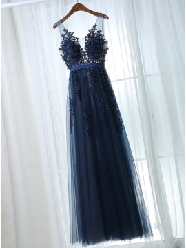 A-Line V-Neck Navy Blue Tulle Prom Dress with Appliques