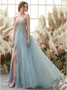A-Line Spaghetti Straps Long Split Light Blue Prom Dress With Beading