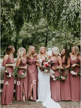 Long Mismatched Dusty Rose Bridesmaid Dresses